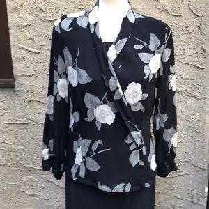 Dana Buckman vtg silk floral blouse